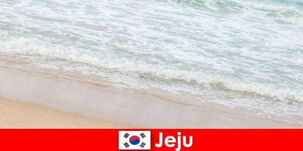 Jeju, z drobnym piaskiem i czystą wodą, jest idealnym miejscem na rodzinne wakacje na plaży